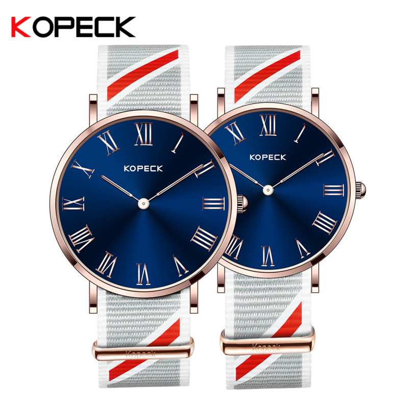 Kopeck Fashion Men Quartz Watch Couple Wrist Watches Luxury Women Lovers Watches High Quality Stainless Steel Nylon Strap Watch