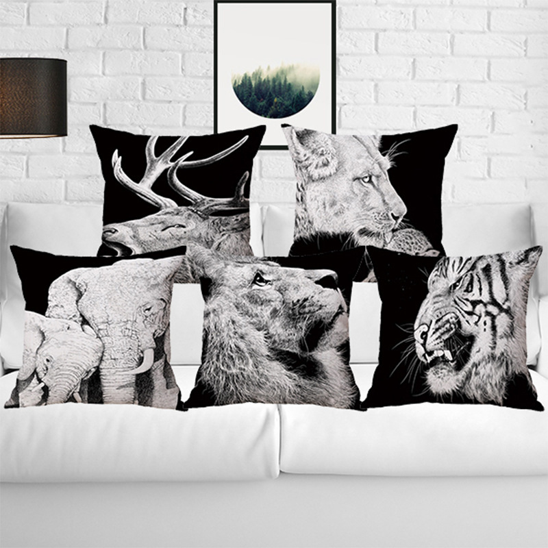 Pillow Case Black and White Pattern Pillowcase Cotton Linen Printed Nordic Simple Animal Head Geometry Pillow Covers 45x45 CM