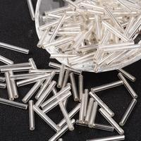 Glass Bugle Beads, Seed Beads, Silver Color, about 3mm wide, 21mm long, hole: 0.5mm; about 1900pcs/one pound