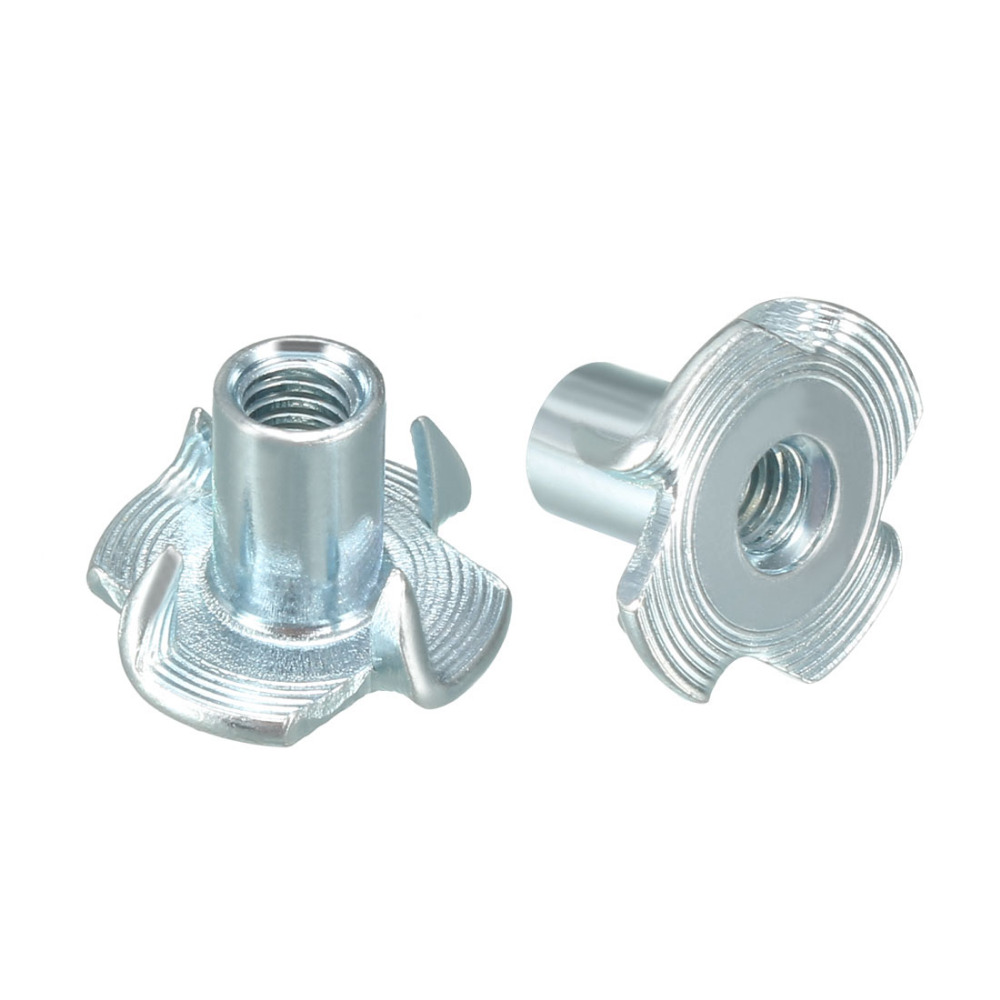 uxcell 100Pcs M5 4 Pronged Tee Nut T-Nut for Rock Climbing Holds Wood Cabinetry