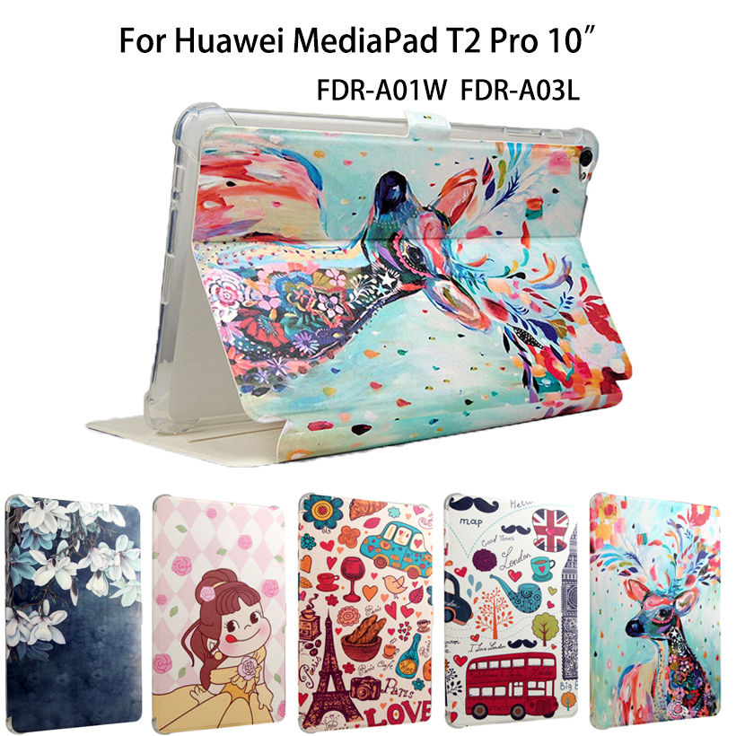 Fashion Painted PU Leather Cover For Huawei MediaPad T2 10.0 Pro Smart Case Fundas Tablet FDR-A01W FDR-A03L Auto Sleep/Wake up book leather case tablets accessories business cover fundas for huawei mediapad m2 ple 703l t2 7 0 pro pu stand cases capa