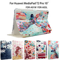 Fashion Painted PU Leather Cover For Huawei MediaPad T2 10 0 Pro Smart Case Fundas Tablet