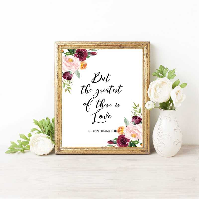 Bible Verse Love Quotes Wall Art Canvas Painting Watercolor Flowers  Scripture Christian Posters And Prints Pictures Home Decor