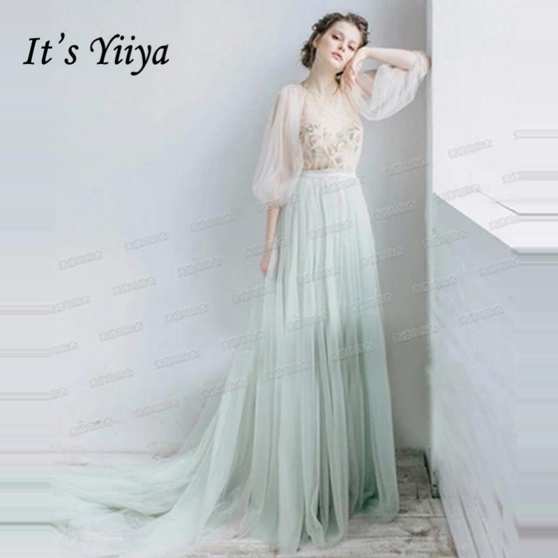 0b1ad3fd949d It's Yiiya evening dress 2018 O-Neck Floor Length Elegant Illusion  Embroidery Formal Dress for
