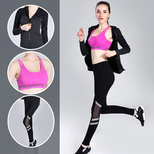 ( jacket + bra + pants  )3PCS / Set Women's Yoga Sets Running Fitness Sports Set Splicing Yarn Pants Elastic Tracksuit  Clothes