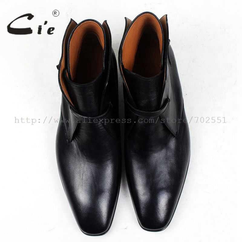 CIE квадратный плоские, для пальцев на ногах однотонная pebble зерна черного цвета до середины икры кожаные ботинки 100% натуральная кожа дышащая подошва на заказ мужские сапоги A88