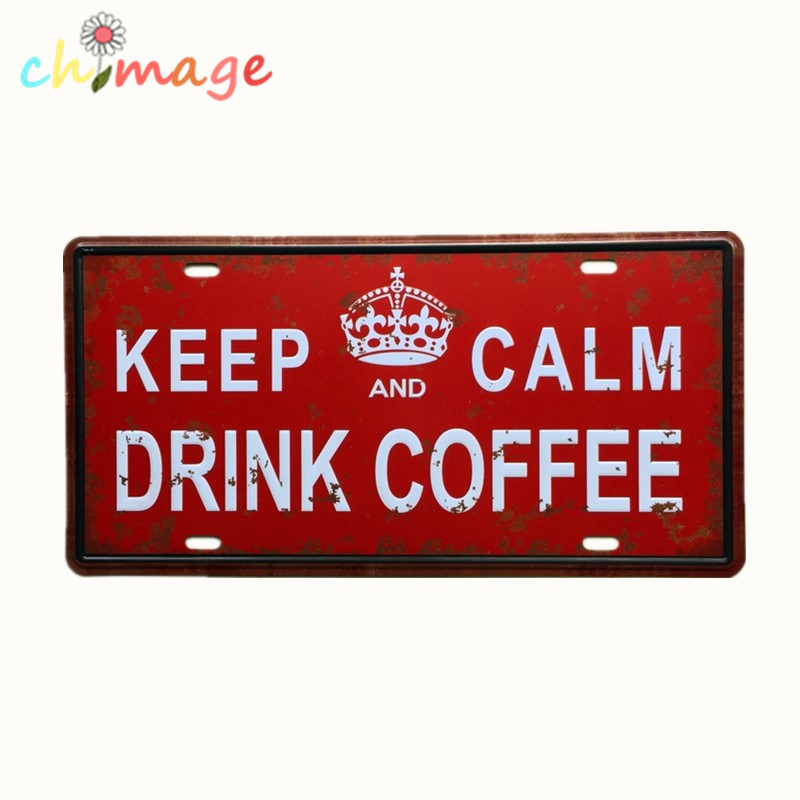 Keep calm and drink coffee license car plate vintage tin