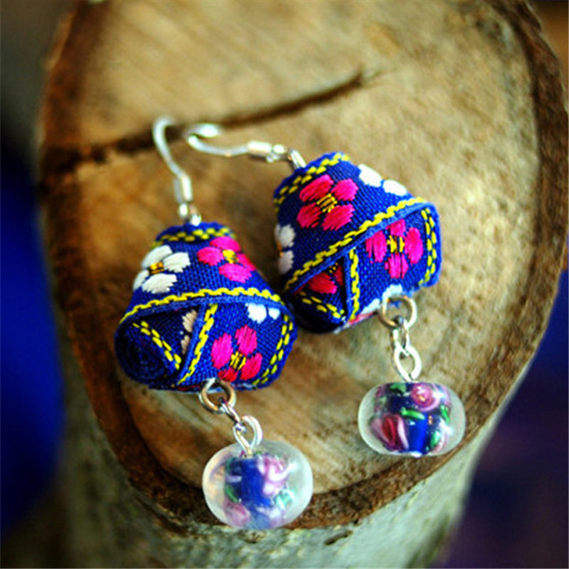 women earring new arrival DIY cloth heart-shaped free shipping retro jewelry accessories girl dangle earrings gift BD050