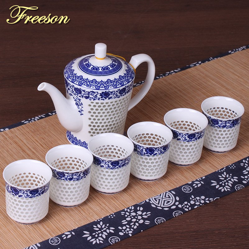 Traditional Chinese Blue White Porcelain Tea Set Green