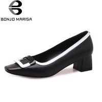 BONJOMARISA Genuine Leather 2018 Cow Leather Slip On Chunky Mid Heels Women Shoes Woman Black Pumps Shoes Woman Size 34 39