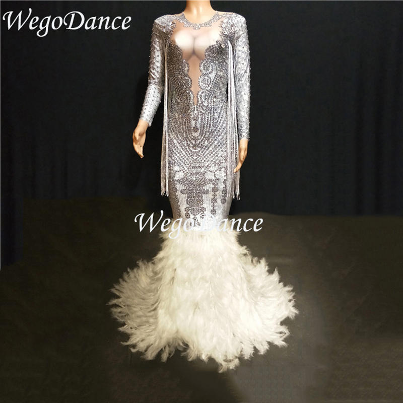 New Fashion Luxurious Sparkly Crystals Tassel Long Feather Dress Birthday Celebrate Stones costume Bridal Dresses