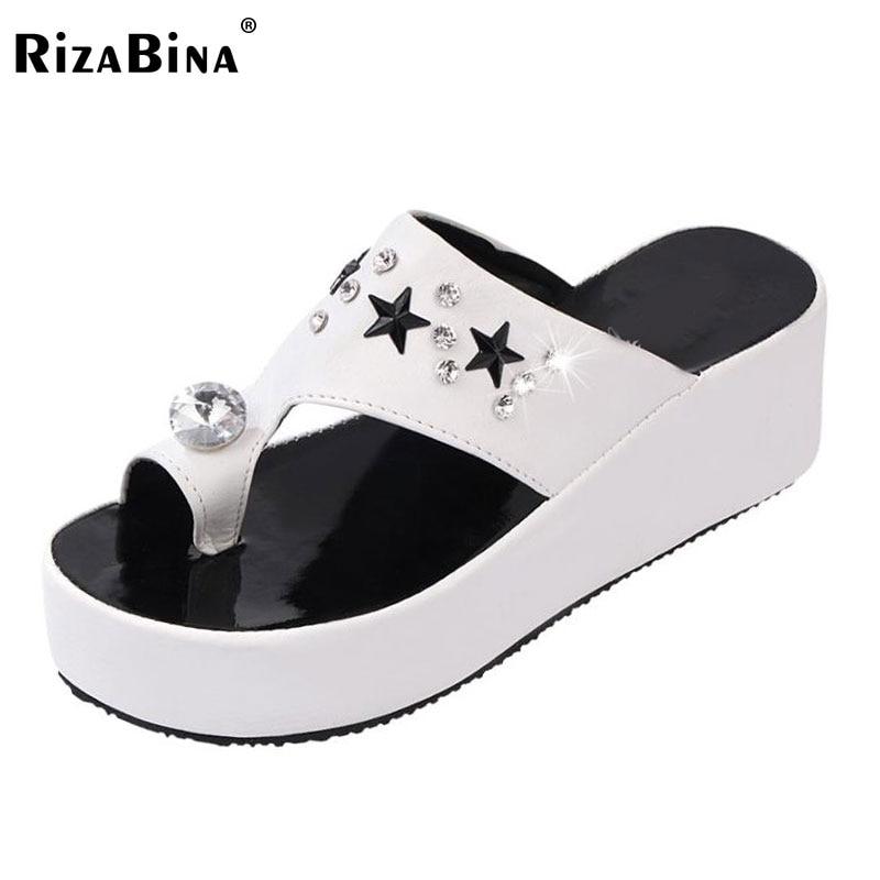 RizaBina ladies flats sandals brand designer flip flops women female slippers leisure sweet shoes with flower
