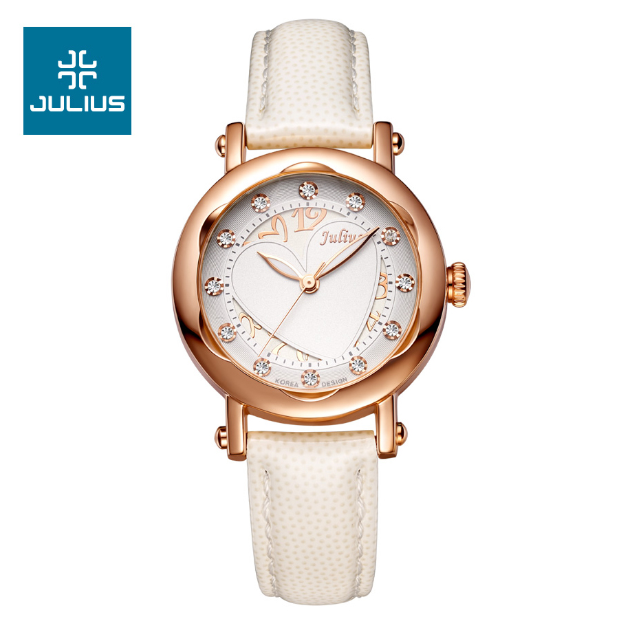 Julius New Lady Woman Wrist Watch Quartz Hours Best Fashion Dress Korea Bracelet Leather Hollow Heart