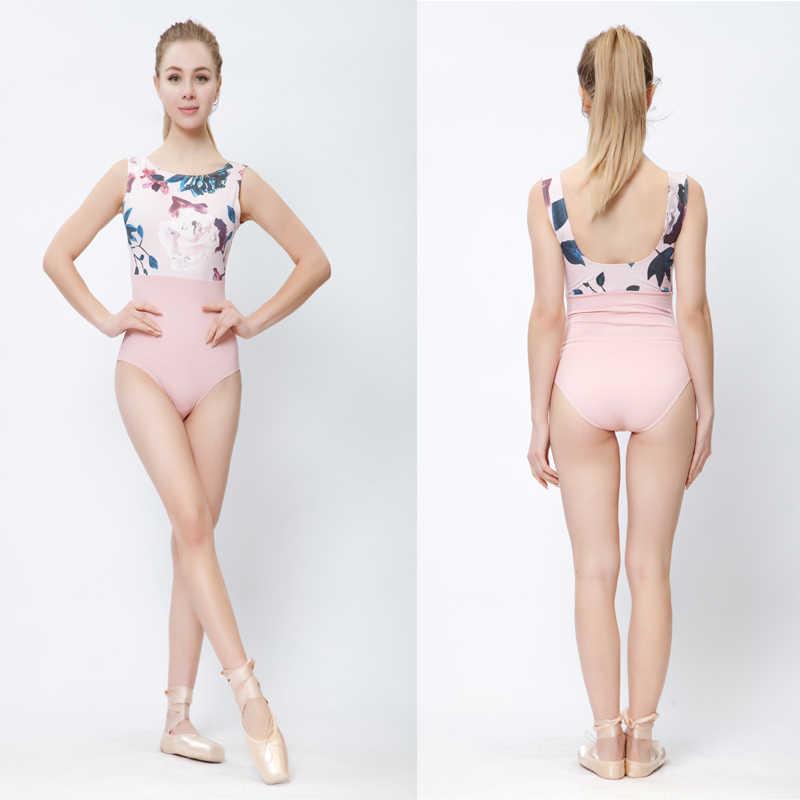 Roze Afdrukken Ballet Dans Maillots Vrouwen 2019 Nieuwe Collectie Zomer Gymnastiek Dansen Kostuum Volwassen Hoge Kwaliteit Ballet Turnpakje