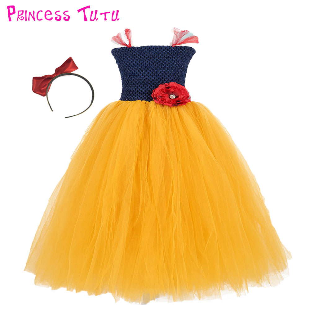 Handmade Navy Blue Girl Tutu Dress Red Flower Girls Birthday Party Snow White Cosplay Tutu Dresses For Princess Halloween Custom new arrival navy blue and white flower girl dress with flower headband navy blue flower girl tutu dress girls baby dress