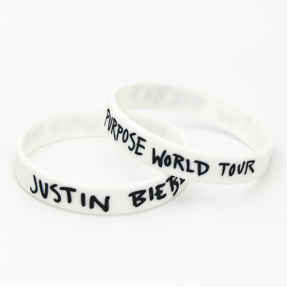 Купить с кэшбэком 1PC Hot Sale Justin Bieber Wristbands White Purpose World Tour Justin Bieber Silicone Bracelets &Bangles For Music Fans SH077