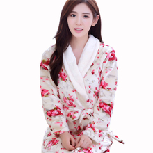 Women Coral Fleece Sleepwear Sexy Winter Autumn Warm Bathrobe Nightgown Kimono Dressing Gown Robe For Lady