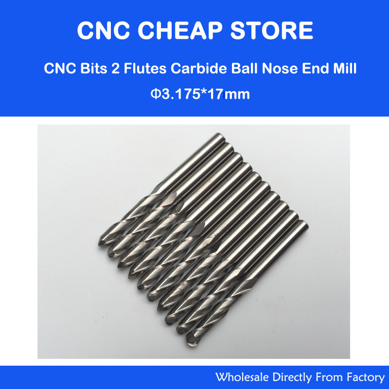 10 pcs/lot 3.175x17mm 2 Flutes Ball Nosed End Mill, CNC Router Bits, Milling Cutters, Solid Carbide, Cutting Tools