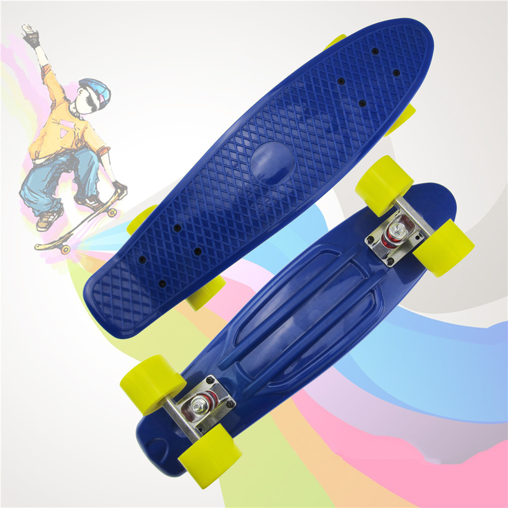 New 22 Inch Child Skateboard Penny Board Pure Color Fishboard Graphic Retro Banana Skate Board Mini Skateboard For Kids