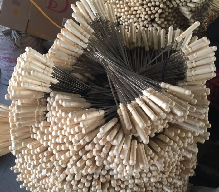 10 pcs longos e grossos 40 50 60 cm punho de madeira PARA CHURRASCO de aço inoxidável agulha cadeia da Carne para churrasco grelhadores churrasco espetos kebab Varas ferramentas