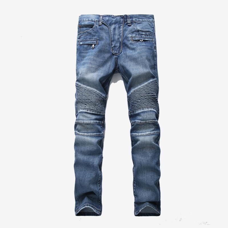 Men Pleated Hip Hop Panels Jeans Slim Fit Denim Pants Male Jeans Motocross-style High Street Jeans 2020 Spring Men Zipper Pants