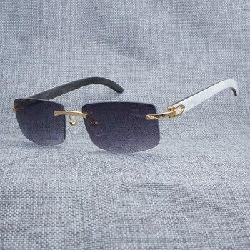 44ce368589 Gafas de sol clásicas sin montura blancas en el interior negras de cuerno  de búfalo para