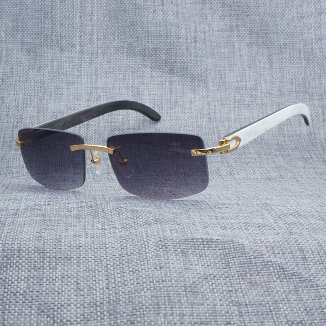 7a8b85243a Vintage Rimless White Inside Black Buffalo Horn Sunglasses Men Square Sun  Glasses For Club and Driving