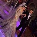 Vestidos de Noche Vestidos Magníficos Cristales Moldeados Sheer Cuello de Manga Larga Vestido de Novia Sirena Vestidos De Novia Árabe