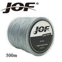Jof 500 m 낚시 라인 슈퍼 강한 multifilament pe 꼰 낚시 라인 4 가닥 꼰 와이어 8 10 20 30 40 60 80 100lb