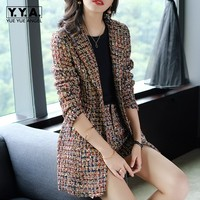 2018 New Elegant Women Tweed Jacket Suits Spliced Twill Long Plaid Blazer Coat Shorts Outfits OL Office Work Formal Suit Sets