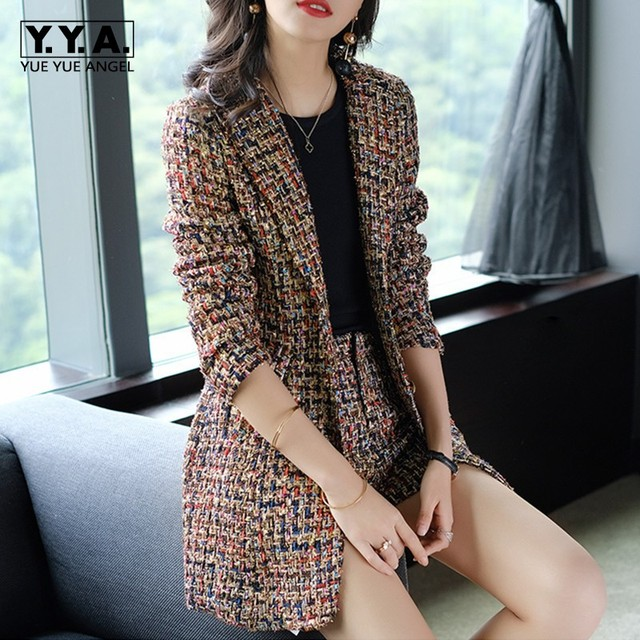 2019 New Elegant Women Tweed Jacket Suits Spliced Twill Long Plaid Blazer Coat Shorts Outfits OL Office Work Formal Suit Sets