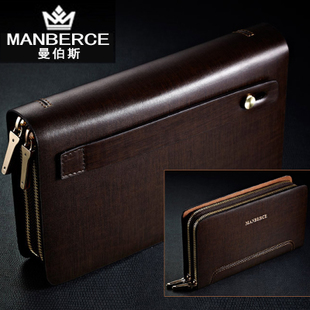 ФОТО Men's large capacity double zipper clutch commercial wallet men long design wallet day genuine leather clutch bag