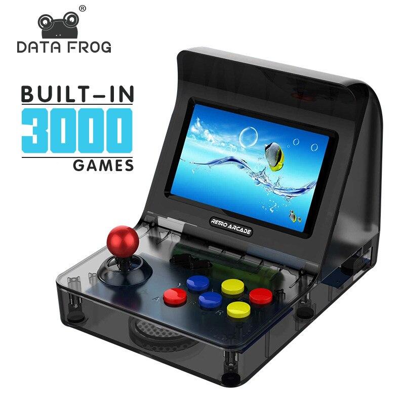 Data Frog rétro ARCADE Mini Console de jeu vidéo 4.3 pouces construit en 3000 jeux Console de jeu portable famille enfant cadeau jouet