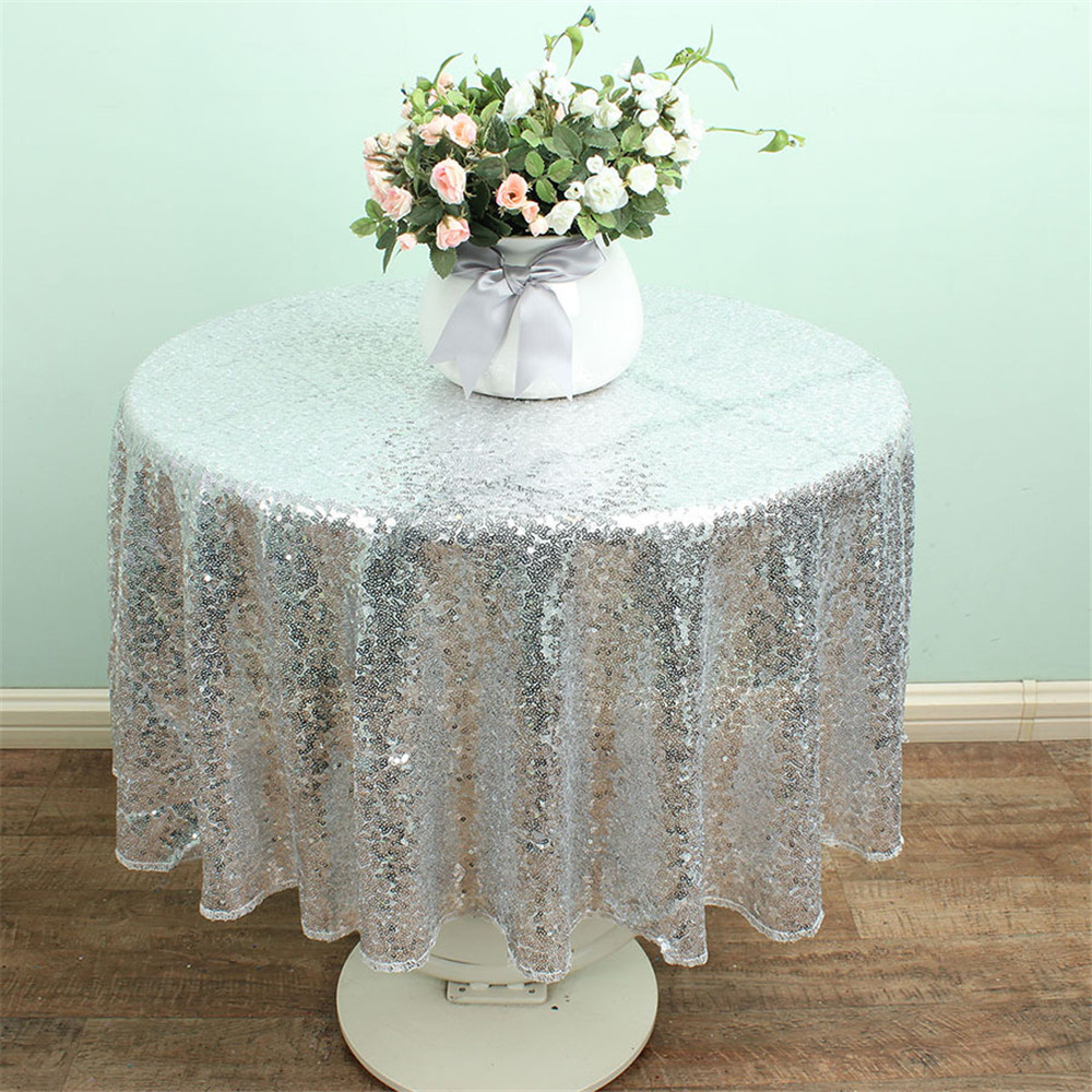 Glitter Silver Sequin Tablecloth Round Diameter 50 Inches For Birthday  Party Decorations Kids(China)