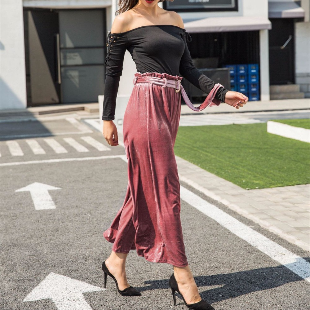Elegant Women Autumn Winter Wide Leg Pants Loose High Waist Female trouser