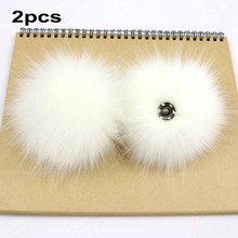 2Pcs Fluffy Faux Fur 10cm Pom Ball W/ Press Button DIY Crafts Baby Girl Pompoms Beanie Hats Clothes Accessories Press Stud Ball