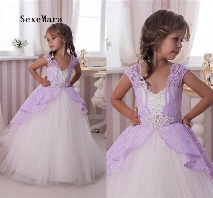 New Girls Dresses Lavender Lace Party Prom Pageant Gown Applique Beaded Sash Flower Girl Dress for Wedding Girls Birthday Gown cnd цвет lavender lace