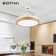 BOTIMI Modern 220V Led Ceiling Fans With Lights Bedroom White Ventilateur Remote Control wooden Home Indoor Cooling Fan Lamp(China)