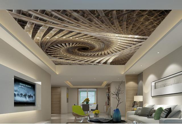 custom 3d modern ceiling murals Spiral Royal Geometric Art 3d wallpaper for ceiling living room wallpaper.jpg 640x640 - 3d Decken Tapete
