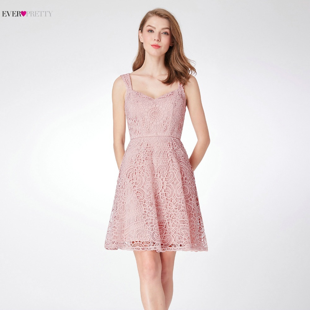 Ever Pretty Women Elegant   Cocktail     Dresses   A-Line Sleeveless Short Party Gowns Sweet Pink Lace Robe   Cocktail   Mini Vestido Coctel
