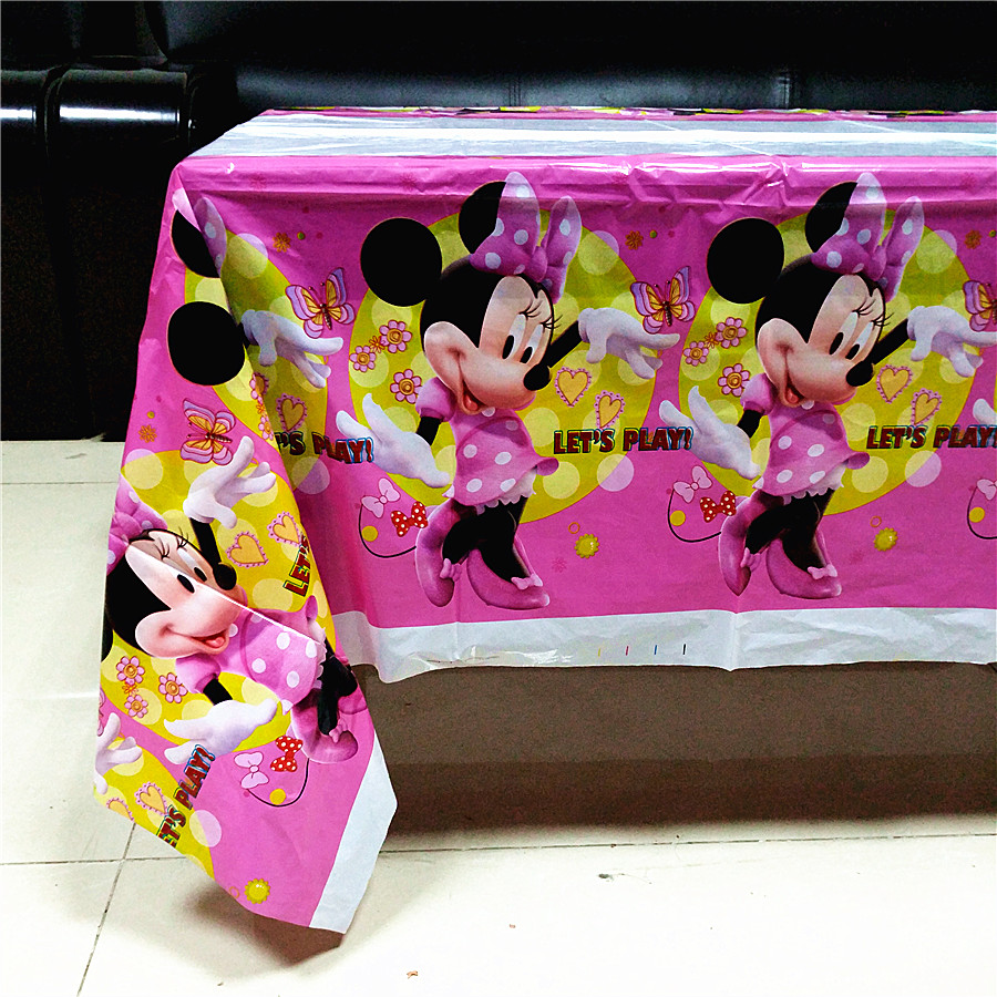 108*180cm cute minnie mouse cartoon kids girls birthday disposable decoration tablecover ...