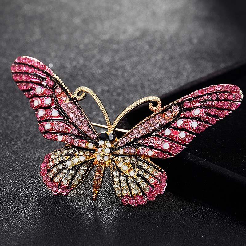 Lindo broche de mariposa rosa joyería para mujer broches de esmalte - Bisutería