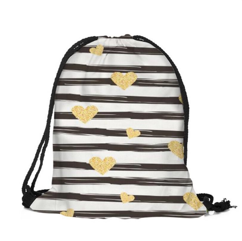 ISHOWTIENDA Drawstring Bag 3D Printing Women Men Drawstrings Bags Casual Flower Printed Backpack Travel School Beach Bag Cavalos