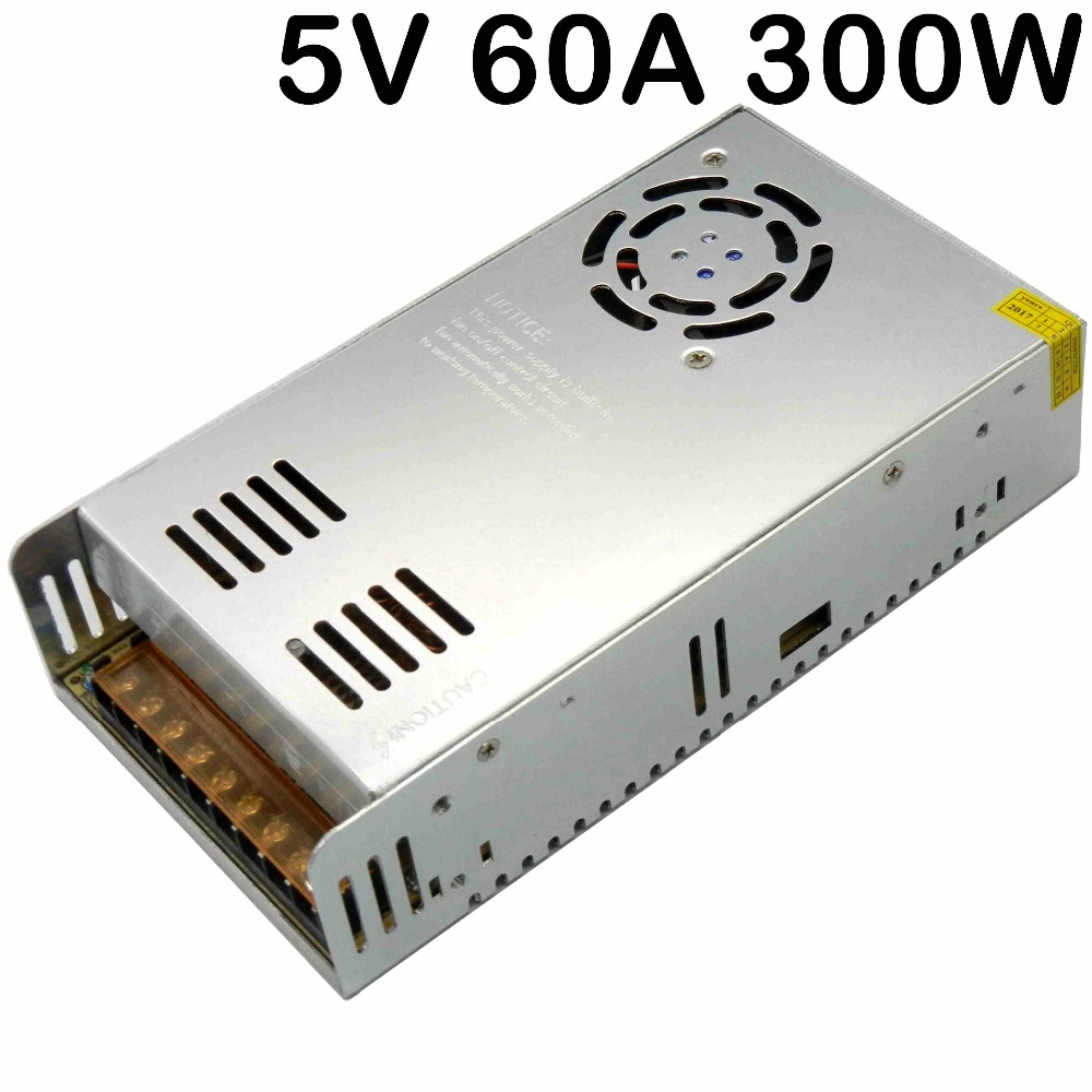 5V 60A 300W switching power supply AC110 220V to DC5V DC transformer Built-in cooling DC fan for LED display strip light SMPS 30pcs dc5v 60a 300w switching power supply adapter driver transformer for led display led controller led modules