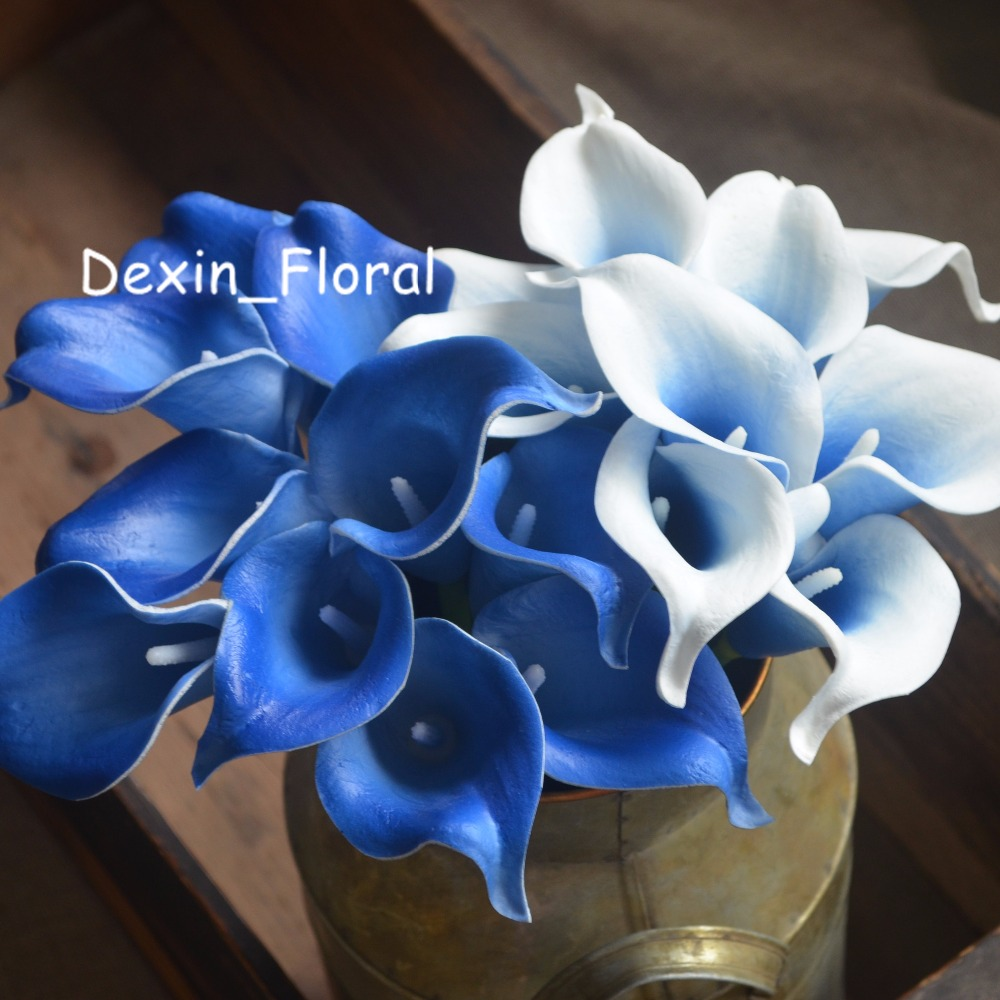 Picasso Royal Blue Calla Lilies Real Touch Flowers For Silk Wedding