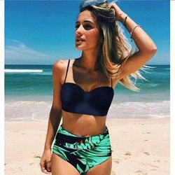 High Waist Swimsuit 2018 Black White Striped Bikinis Women Bandage Top Push Up Swimwear Female Bathing Suits Beach Wear Biquini