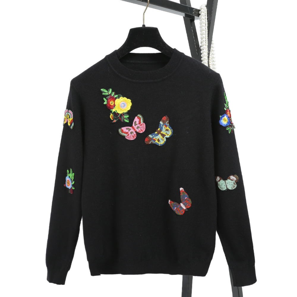 New 2018 Autumn Women's Sweaters Luxury Embroidery Butterfly Floral Female Casual Top Basic Pullover High Quality Knitted Jumper