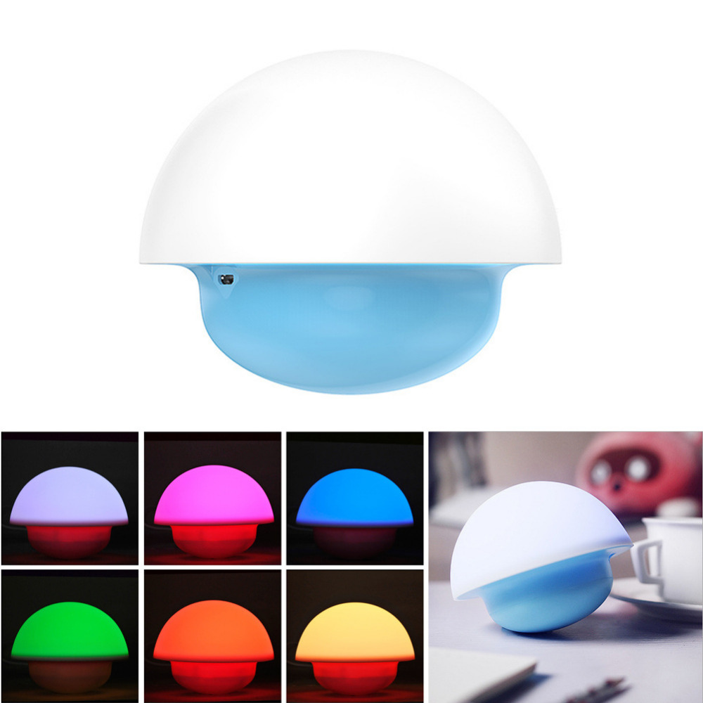 New Romantic Baby Room Touch Sensor Night Light Tumbler Mushroom LED Lighting Colorful Child Kids Bedroom Home Decor Lamp Gifts