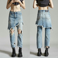 2017 Abner Fashion Boyfriend Hole Ripped Denim Brand Jeans Women High Waist Fake Two Pieces Vintage Loose Straight Jeans Pants