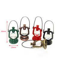 1/12 Dollhouse Miniature Accessories Mini Metal Vintage Oil Lamp  Simulation Barn Lantern Model Toys for Doll House Decoration